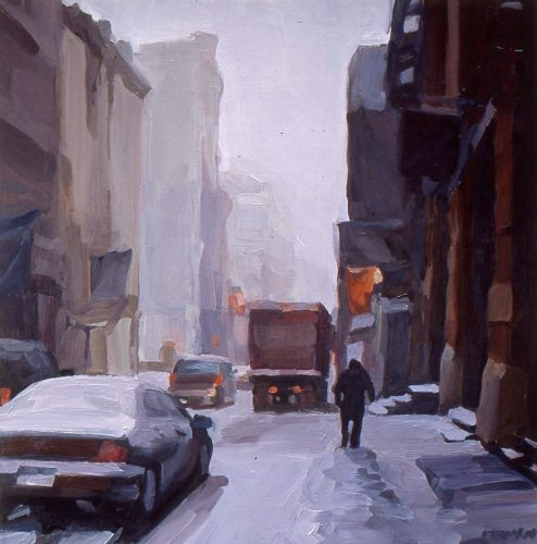 Winter Day, Soho, oil painting by Lisbeth Firmin