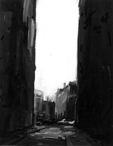 Urban Alley II ink and acrylic