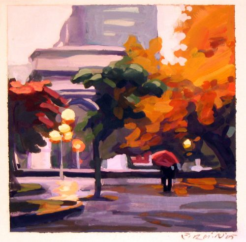 Washington Square, gouache