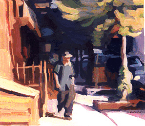 Young Man Strolling gouache